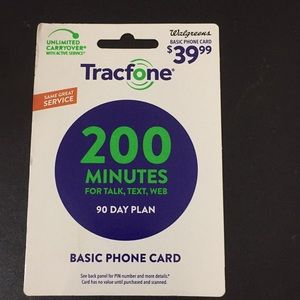 Tracfone 200 minute 90 day phone plan.